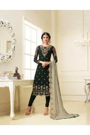 Green georgette Indian wedding straight cut churidar 10001