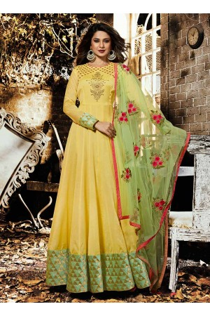 Jennifer Winget Yellow Indian wedding anarkali 1135