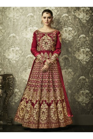 Magenta color silk Indian wedding wear anarkali 1001