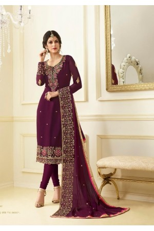 Magenta georgette Indian wedding straight cut churidar 10005