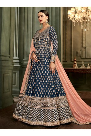 Navy Blue Silk Floor Length Indian wedding Anarkali Suit 32002
