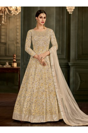 Off White Silk Floor Length Indian wedding Anarkali Suit 32004