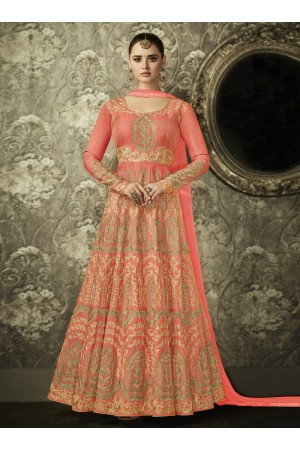 Peach color silk Indian wedding wear anarkali 1003