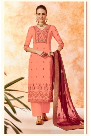 Peach dola silk Indian Palazzo salwar kameez K13