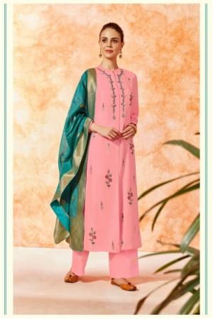 Pink dola silk Indian Palazzo salwar kameez K21