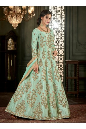 Sea Green Silk Long Indian wedding Anarkali Suit 32001