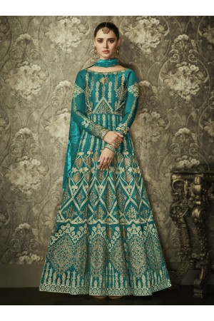Teal color silk Indian wedding wear anarkali 1002