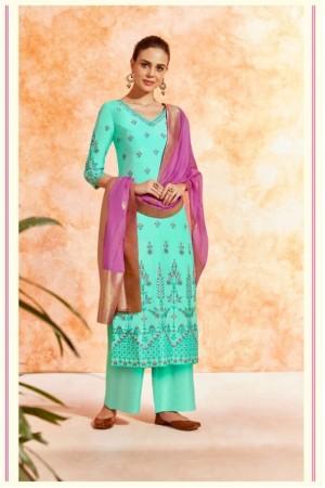Turquoise dola silk Indian Palazzo salwar kameez K17