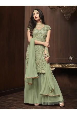 Sonal Chauhan Green net wedding Palazzo kameez