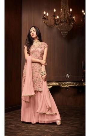 Sonal Chauhan Peach net wedding Palazzo kameez