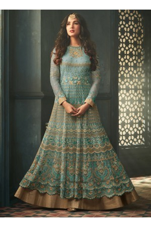 Sonal Chauhan Teal blue net wedding anarkali