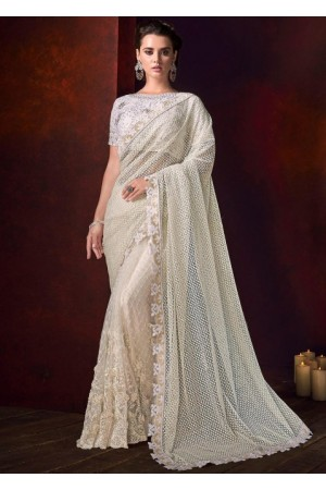 White color net moti work wedding saree