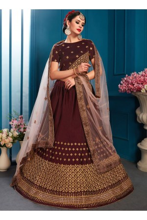Brown satin silk Indian Wedding Lehenga choli 1704