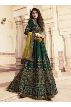 Dark green silk Indian wedding lehenga choli 901