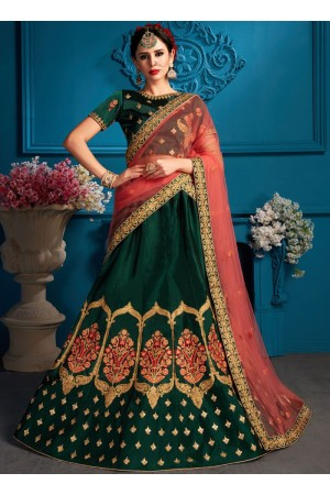 Green satin silk Indian Wedding Lehenga choli 1707