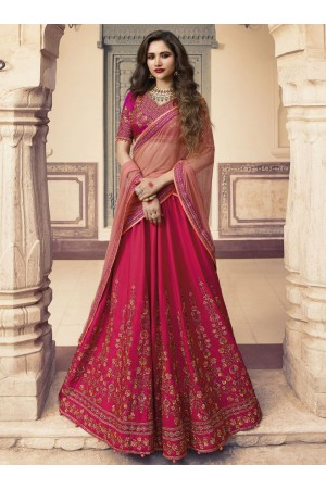Magenta silk Indian wedding lehenga choli 902