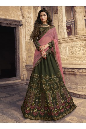 Mehandi green pink silk Indian wedding lehenga choli 904