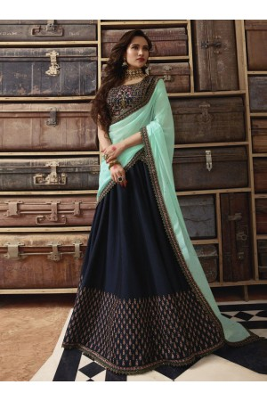 Navy blue Sea green silk Indian wedding lehenga choli 909