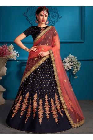 Navy blue satin silk Indian Wedding Lehenga choli 1709