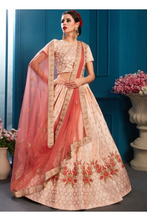 Peach satin silk Indian Wedding Lehenga choli 1702