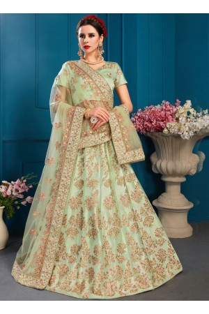 Pista satin silk Indian Wedding Lehenga choli 1701