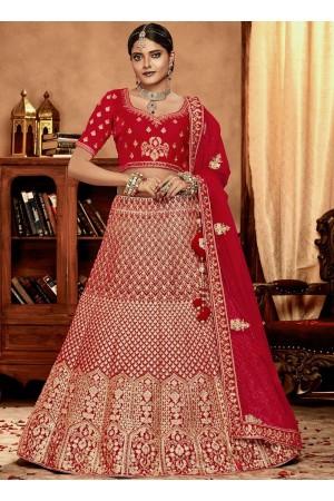 Red color Velvet Indian Bridal Lehenga choli 4427