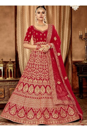Red color Velvet Indian Bridal Lehenga choli 4428