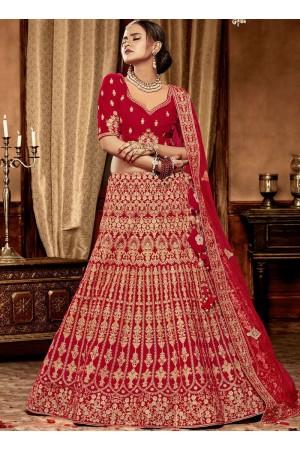Red color Velvet Indian Bridal Lehenga choli 4429
