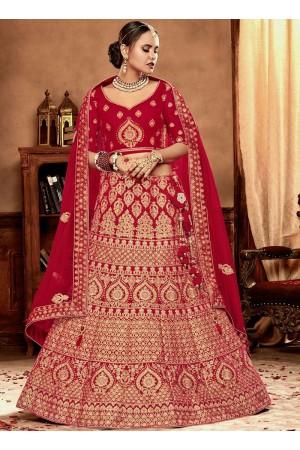 Red color Velvet Indian Bridal Lehenga choli 4430