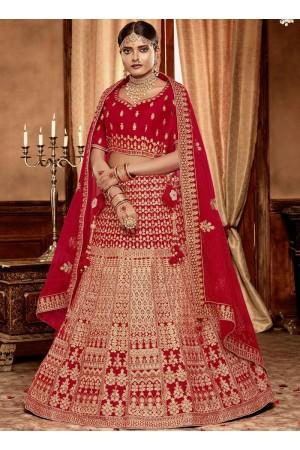 Red color Velvet Indian Bridal Lehenga choli 4431