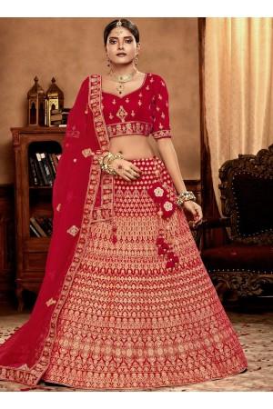 Red color Velvet Indian Bridal Lehenga choli 4432