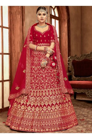 Red color Velvet Indian Bridal Lehenga choli 4433