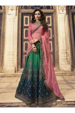 Shaded green pink silk Indian wedding lehenga choli 903