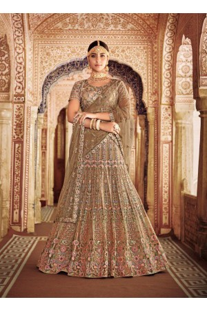 Beige color silk and net Indian wedding lehenga