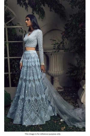 Bollywood model powder blue net embroidered wedding lehenga choli
