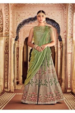 Green and beige Silk and net  Indian wedding lehenga