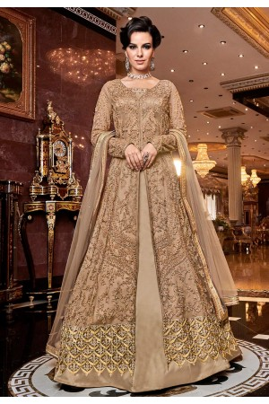 Beige net embroidered dual look Wedding anarkali