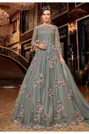 Grey Net embroidered Wedding anarkali