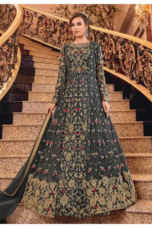 Grey Net embroidered jacket style Wedding anarkali