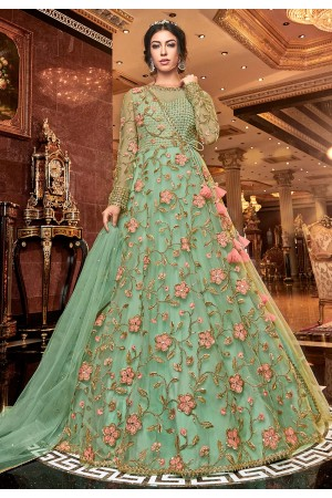 Light green net embroidered Wedding anarkali