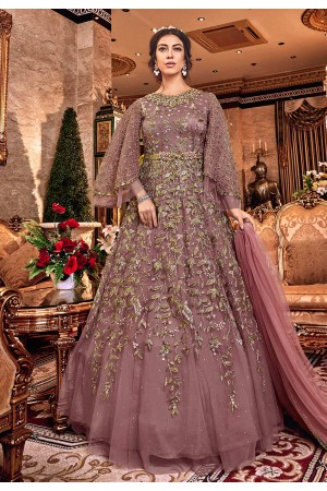 Light purple net embroidered Wedding anarkali