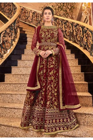 Maroon net embroidered floor length Wedding anarkali