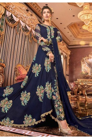 Navy blue net embroidered pant style Wedding suit