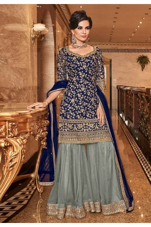 Navy blue net embroidered Wedding wear sharara suit