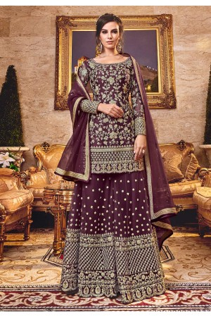 Purple net Wedding palazzo wear suit