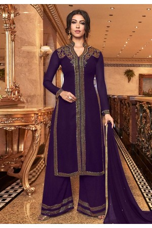 Purple georgette embroidered Wedding Palazzo