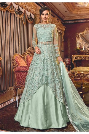 Sea Green net embroidered Wedding lehenga kameez