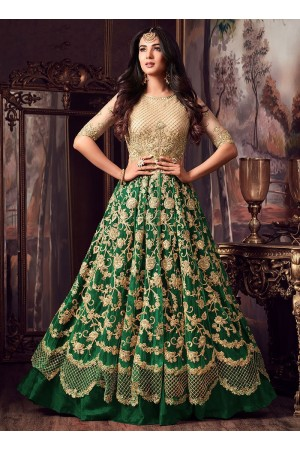 Sonal Chauhan Cream and green net wedding anarkali