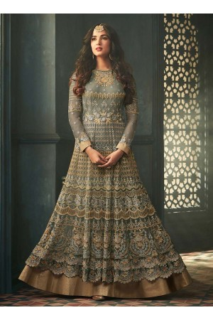 Sonal Chauhan Grey net wedding anarkali