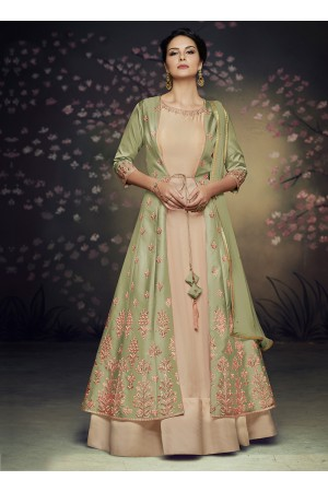 Green net and satin silk jacket style gown anarkali suit 3077